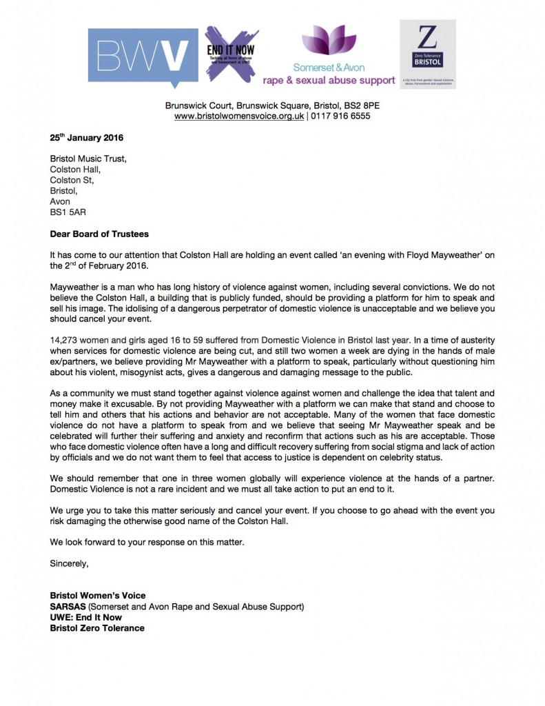 Letter to Bristol Music Trust