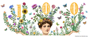 An illustration of a woman's head and arms, she is covered in flowers and holds up the number 100